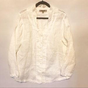 FLAX | 100% Linen White button down shirt